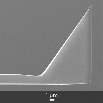 Side view SEM image of Opus uncoated AFM tip